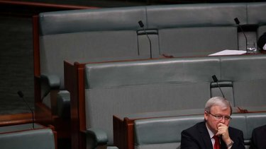 """He will not change"" ...  Kevin Rudd sits on the backbench during Question Time yesterday."