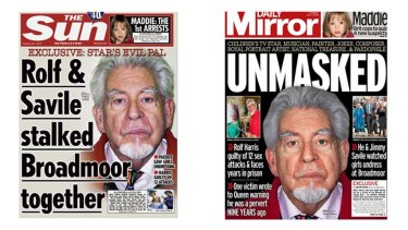 Red-top rage: How <i>The Sun</i> and the <i>Daily Mirror</i> saw the Rolf Harris verdict.