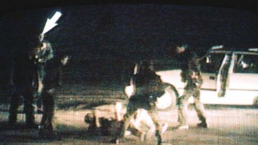 A still from a video showing the March 3, 1991 incident in Los Angeles in which Rodney King (on ground) was beaten by police officers.