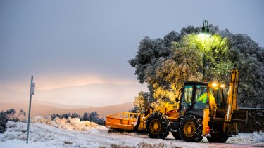 Snow clearing at Mount Buller on Monday.