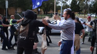 Protestors clash outside a Halal festival in Ascot Vale.