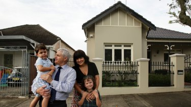Community feel … Robert Meaney, Meredith Coote and their children Raphael, left, and Claudia in front of their Marrickville home.