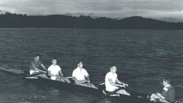 The first rowers on Lake Burley Griffin on April 18, 1964