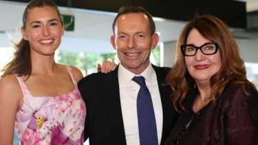 Frances Abbott with her father Tony Abbott and Leanne Whitehouse at an exhibition at the Whitehouse Design Institute.