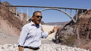 US President Barack Obama at the site of one of America's greatest infrastructure projects, the Hoover Dam.