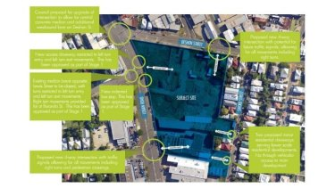 Mooted layout of 148 Logan Road, Woolloongabba, including changes to traffic conditions.