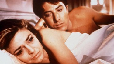 Here's to you ... Hoffman and Anne Bancroft in <i>The Graduate</i>.