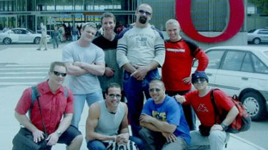 A cruise gone wrong... the eight Adelaide men who figured in the Brimble inquest. From left, Mark Wilhelm, Matthew Slade, Dragan Losic, Petar Pantic; bottom row: Ryan Kuchel, Leo Silvestri, Luigi Vitale, and Charlie Kambouris.