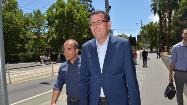 Premier-elect Daniel Andrews prior to speaking to the media on Sunday.