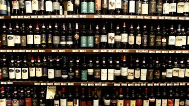 Ready to be drunk, but lost   ... bottles of Brunello di Montalcino red wine are displayed at a wine shop in the Tuscan town of Montalcino in central Italy.
