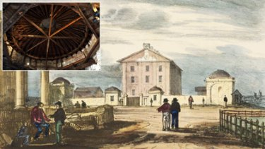 Main: The domes in the background of an 1836 lithograph; inset: the underside of the restaurant  dome.