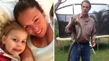 Tess Guthrie, with her two-year-old daughter Zara; and Tex Tillis, with the snake he removed from their home.