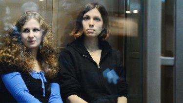The two jailed members of the band Pussy Riot ... Maria Alyokhina, left, and Nadezhda Tolokonnikova.