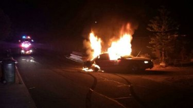 The vehicle on fire in Spearwood.