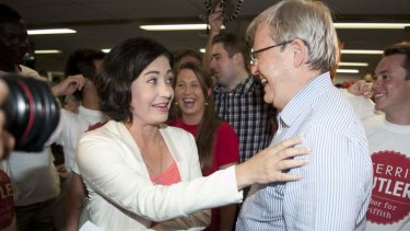 Kevin Rudd congratulates Terri Butler after she claimed victory in the 2014 Griffith byelection.