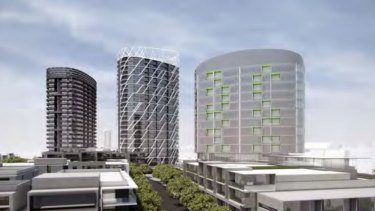 The three proposed apartment towers next to Flemington Racecourse railway station, on land owned by the Victoria Racing Club in Ascot Vale.