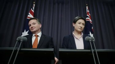 Budget blues: Chris Bowen and Penny Wong.