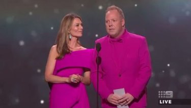 Stewart and Peter Helliar drew laughs with their Logies 'Jacket-gate' skit.