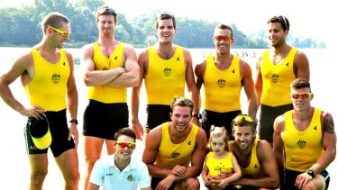 Before the Games: the Australian men's eight (back from left) Cam McKenzie-McHarg, Bryn Coudraye, Nick Purnell, Francis Hegerty, Tom Swann, (front, from left)  Toby Lister (cox), Josh Booth, Matt Ryan with his daughter, Marli, and Sam Loch