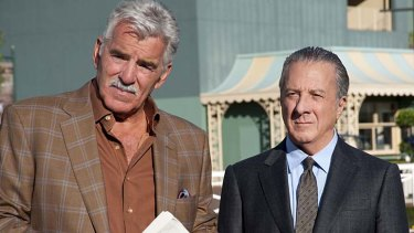 Dennis Farina, left, and Dustin Hoffman in <i>Luck</i>.