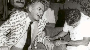 Former prime minister Bob Hawke celebrating the America's Cup win, in THAT jacket, in 1983.