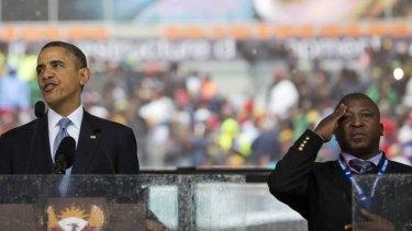 """""""Funny gestures"""": Thamsanqa Jantjie during Barack Obama's eulogy for Nelson Mandela."""