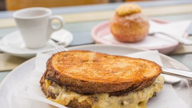 Bechamel and Vegemite toastie at Mill and Bakery at Central Pier, Docklands.