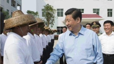 Chinese President Xi Jinping meeting maritime militia in Tanmen in April 2013.