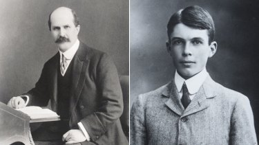 William Henry Bragg (left) 1909, and his son, William Laurence Bragg in 1906.