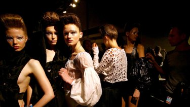 Feeling the pinch ... models at the Konstantina Mittas show.