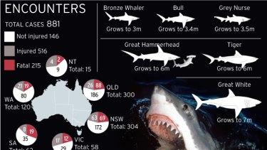 Shark attacks around Australia.