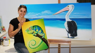 Local artist Aleisha Zappia with some of the works to be displayed.