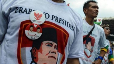 Supporters of Indonesian presidential candidate Prabowo Subianto during a campaign rally in Jakarta ahead of the latest presidential debate.