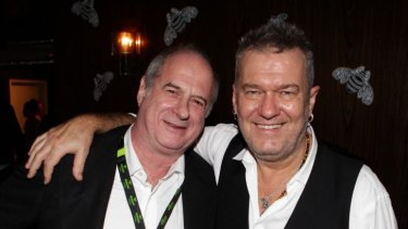Jimmy Barnes, right, with the godfather of Australian rock'n'roll, Michael Gudinski, in 2013