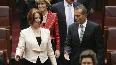 Burbgate ... Julia Gillard and Tony Abbott at odds over the north shore.