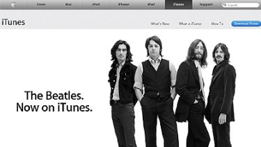 No longer forbidden fruit ... A screen shot of the iTunes website, where the Beatles are being promoted heavily.