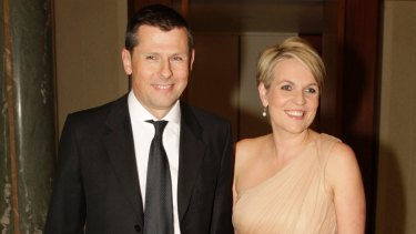 Tanya Plibersek with her husband Michael Coutts-Trotter arrive at the Press Gallery Mid Winter Ball in Parliament House Canberra on 20 June 2013 Photo: Andrew Meares