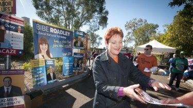 Pauline Hanson at Jamboree State School in Brisbane on election day.