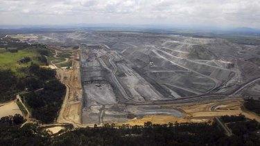Warkworth mine pit aerial.