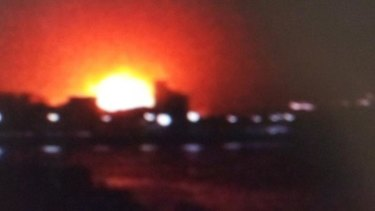 A grab from footage of the INS Sindhurakshak's explosion in the Mumbai dock.