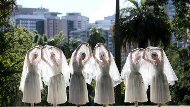 Dancers from the Australian Ballet dance 'Giselle' in Brisbane's Botanic Gardens.