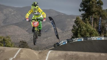 Caroline Buchanan on her way to wrapping up the BMX World Cup crown in the final round in California.