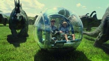 A scene from <i>Jurassic World</i>.