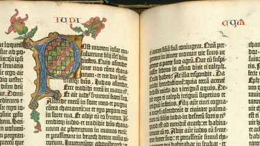 Two pages of the Gutenberg Bible that will be on display in the Dulcie Hollyock Room of the Baillieu Library from July 18–27. Image courtesy University of Manchester.