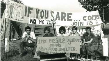 Vigil ... anti-nuclear demonstrators let their feelings be known about the American MX missile test plan at a protest at Richmond Air Base in April 1985.