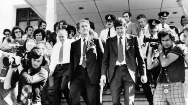Malcolm Fraser leaves Parliament House.
