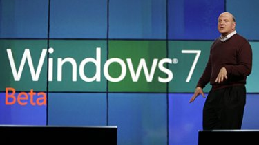 Microsoft CEO Steve Ballmer talks about Windows 7 as he delivers the keynote address at the International Consumer Electronics Show, Wednesday, Jan. 7, 2009 in Las Vegas.