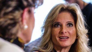 Summer Zervos, right, speaks alongside her attorney Gloria Allred during a news conference where she made allegations against Donald Trump
