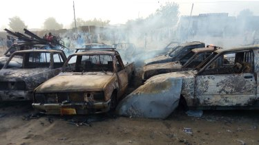Wreckage following a Boko Haram attack in Maiduguri, north-east Nigeria, earlier this year.