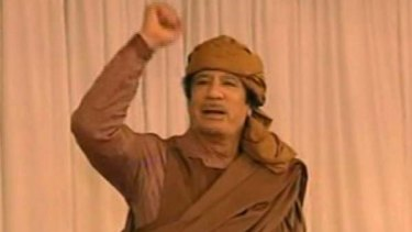Standing firm ... Muammar Gaddafi appears on Libyan state television